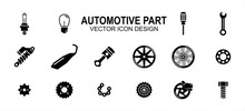 Automotive Automobile And Motorcycle Part Related Vector Icon User Interface Graphic Design. Contains Such Icons As Light Bulb, Screwdriver, Wrench, Shock Breaker, Suspension, Muffler, Exhaust