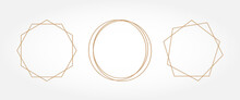 Gold Geometry. Frames For Text. Wedding Invitation. Circle.