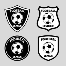 Emblem Design With Soccer Football Ball Icon