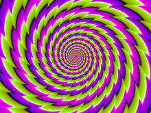 Green, Pink And Purple Spirals. Motion Illusion.