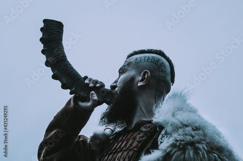 Stampa su Tela Brutal viking with horn