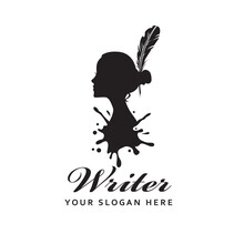 Woman Writer Icon With Feather Pen Against Background Of Ink Blot Isolated On White Background