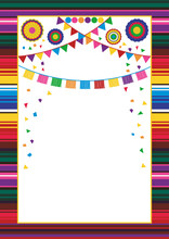 Mexican Style Frame Design Template. Striped Serape Design, Paper Garlands, Confetti, Pompoms And Fans. With Copy Space For Text. For Banner, Flier, Wedding Invitation, Fiesta, Cinco De Mayo, Birthday
