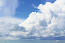 Beautiful Large White Cumulus Clouds. Close-up. Background. Scenery. Texture.
