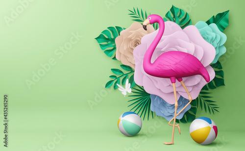Fotografia, Obraz Pink flamingo and beach ball with flower, summer season, summer template 3d rend