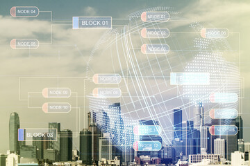 Double exposure of abstract programming language hologram and world map on Los Angeles city skyscrapers background, research and development concept