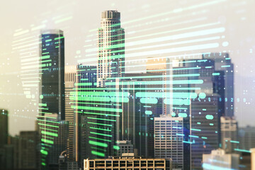 Abstract creative world map interface on Los Angeles skyline background, international trading concept. Multiexposure