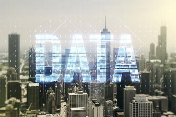 Data word hologram on Chicago office buildings background, big data and blockchain concept. Multiexposure