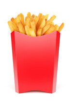 Red Box For French Fries Isolated On White. 3d Rendering Illustration And Photo.