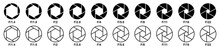 Camera Aperture Icon Set, Lens Diaphragm Row With Value Numbers, Camera Shutter, Vector Illustration