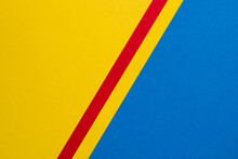 Yellow And Blue Background Diagonally Divided With Red And Yellow Stripes