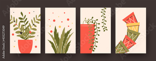 Set of contemporary posters with flowerpots and plants. Pots for flowers, leaves vector illustrations in pastel colors. Houseplants concept for kitchen or living room designs, social media, postcards