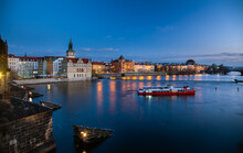 View From Charles Bridge At Night, Prague