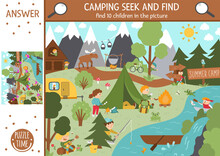 Vector Camping Searching Game With Cute Children In The Forest. Spot Hidden Kids In The Picture. Simple Seek And Find Summer Camp Or Woodland Educational Printable Activity. Outdoor Family Quiz.