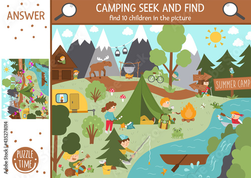 Papel de parede Vector camping searching game with cute children in the forest