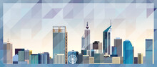 Perth Skyline Vector Colorful Poster On Beautiful Triangular Texture Background