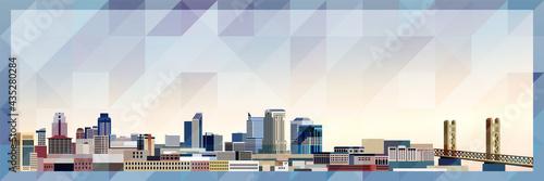 Fotografie, Obraz Sacramento skyline vector colorful poster on beautiful triangular texture backgr