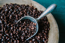 Coffee Beans In Wood Bowl With Scoop
