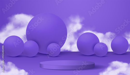 Photo 3D modern podium display design on a purple background containing round balls in white fog smoke clouds