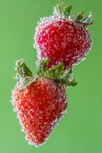 Strawberries In Soda Water