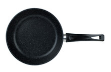 Frying Pan With Black Marble Coating On White Background