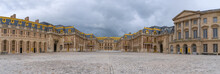 Versailles, France - 19 05 2021: Castle Of Versailles. View Of The Facade Of The Castle Of Versailles From The Honor Square