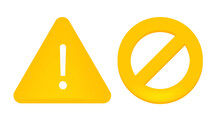 Yellow Warning Sign And Brake Light. For Web Elements And Applications. Warnings About Dangerous Errors, A Virus Problem, Or Incorrect Filling. Isolated On A White Background