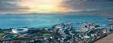 Beautiful Panoramic Vibrant Sunset View Of Cape Town Stadium, Green Point And The Waterfront - Great Outdoors Adventure And Travel Holiday Destination, Cape Town, South Africa