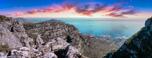 Table Mountain From The Top, Looking Out Towards The Southern Coastline With Enhanced Sunset Sky - Great Outdoors Adventure Travel Destination, Cape Town, South Africa