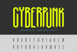 Technology Cyberpunk Font design vector. Hi-tech Cyber Robot Digital Virtual Reality  Artificial intelligence Futuristic style Typeface Typography Letters and Numbers.