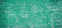 Colorful Green Brick Wall Texture Background. Green Brick Wall Texture Architecture Pattern.