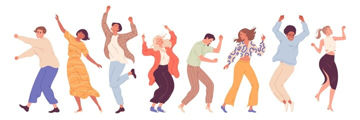 Group of young happy dancing people, dancing characters. Dance party, disco