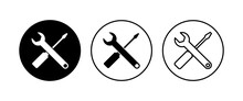 Repair Tools Icon Set. Tool Icon Vector. Setting Icon Vector. Wrench And Screwdriver. Support, Service