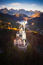 Aerial View Of Neuschwanstein Castle With Alps Mountains, Bavaria, Germany