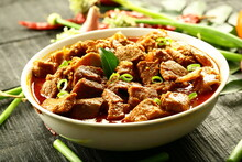 Bowl Of Delicious Mutton Korma, Curry, Roast From Indian Cuisine. Non Veg Food Backgrounds.