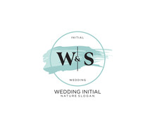 Initial WS Letter Beauty Vector Initial Logo, Handwriting Logo Of Initial Signature, Wedding, Fashion, Jewerly, Boutique, Floral And Botanical With Creative Template For Any Company Or Business.