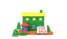 カラフルな木で作った小さな家 , 不動産販売のイメージ , 3Dレンダリング