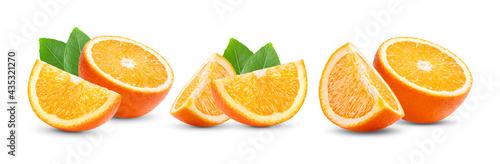 Ripe half of orange citrus fruit isolated on white Fototapet