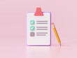 White clipboard with checklist on pink background. 3d render illustration.