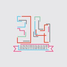 34th Years Anniversary Logo Birthday Celebration Abstract Design Vector Illustration.