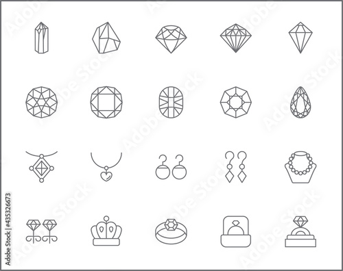 Set of gem and jewelry line style Fototapet