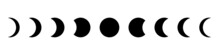Moon Phase Flat Icon With Black Color.  Moon Astronomy.  Eclipse.  Vector On Isolated White Background.
