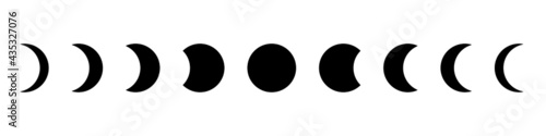 Photo Moon phase flat icon with black color