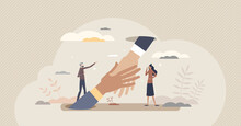 Support And Help With Advice Or Solution In Job Trouble Tiny Person Concept. Giving Hand In Business Difficulties From Partners Vector Illustration. Assistance And Unity As Strong Partnership Work.