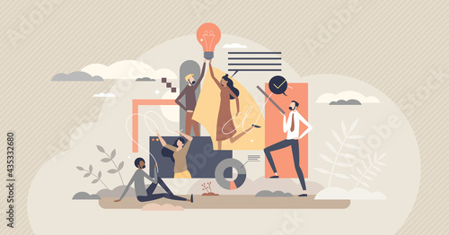 Fotografia Teamwork creativity and new innovative idea development tiny person concept