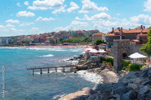 Carta da parati Coastal landscape, panorama - embankment with fortress wall in Sozopol Bulgaria