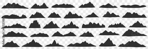 Mountains range silhouettes doodle set Fototapeta