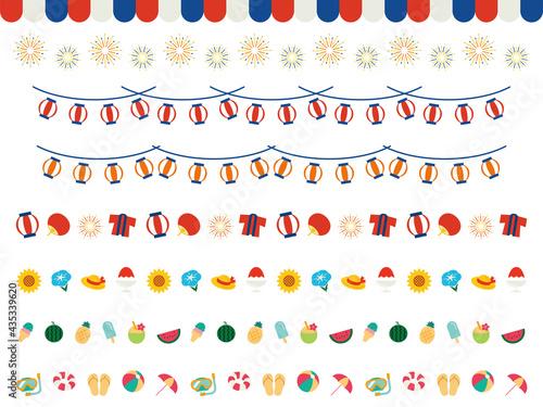 Japanese Summer Decorations 夏のライン 飾り罫セット Fototapeta