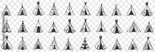 American ethnic wigwam doodle set Fototapeta