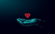 Fundraising Giving Heart Symbol Money Hand. Charity Volunteer Giving Donate Social Project. Finance Funding Dark Low Poly Vector Illustration